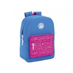 Mochila Escolar Benetton Adaptable a Carro 32x14x43 cm Wording