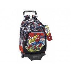 Mochila Escolar Doble Spiderman con ruedas y carro 905 32x15x42 cm Ultimate