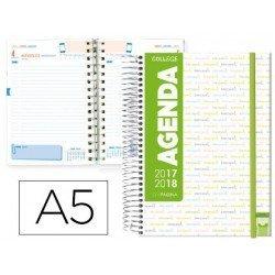 Agenda Escolar 17-18 Un dia por pagina DIN A5 Bilingüe Liderpapel College Blanca