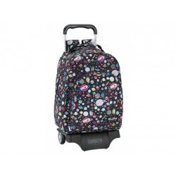 CARTERA ESCOLAR SAFTA CON CARRO BLACKFIT8 PLANETS 330X430X150 MM
