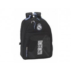 CARTERA ESCOLAR SAFTA REAL MADRID BLACK MOCHILA DOBLE ADAPTABLE A CARRO 320X420X160 MM