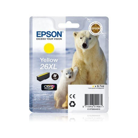 INK-JET EPSON 26XL XP-600 / 605 / 700 / 800 AMARILLO 700 PAG