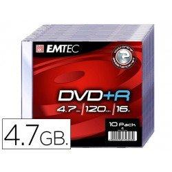 DVD-R Emtec 4,7GB 120min velocidad maxima 16X Caja Slim 10 unidades