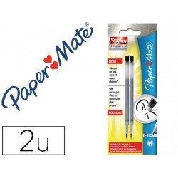 Recambios boligrafo Paper Mate Replay Premium Color Negro Tinta Gel 2 unidades
