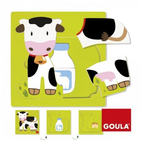 Puzzle a partir de 1 año Vaca 3 niveles Goula