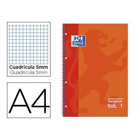 Cuaderno Oxford DIN A4 Naranja Tapa Extradura Cuadrícula 5 mm