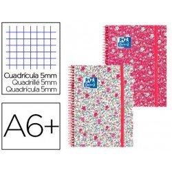 Cuaderno Oxford Ebook 1 DIN A6 Floral Tapa Extradura con gomilla Cuadricula 5 mm