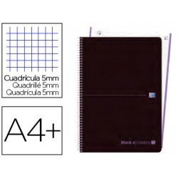 CUADERNO ESPIRAL OXFORD EBOOK 1 TAPA PLASTICO DIN A4+ 80 H CUADRICULA 5 MM BLACK'N COLORS MALVA