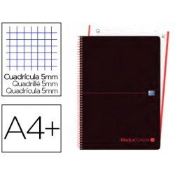 CUADERNO ESPIRAL OXFORD EBOOK 1 TAPA PLASTICO DIN A4+ 80 H CUADRICULA 5 MM BLACK'N COLORS ROJO