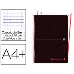 Cuaderno Oxford Ebook 4 DIN A4+ Negro y Rojo Tapa Extradura Cuadricula 5 mm