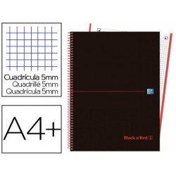 Cuaderno Oxford Ebook 4 DIN A4+ Negro y Rojo Tapa Plastico Cuadricula 5 mm