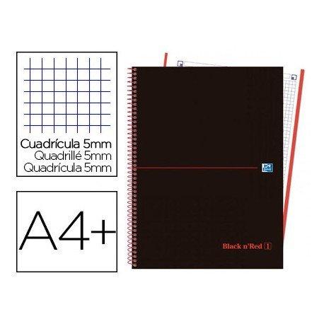 CUADERNO ESPIRAL OXFORD EBOOK 4 TAPA PLASTICO DIN A4+ 120 H CUADRICULA 5 MM BLACK'N COLORS ROJO