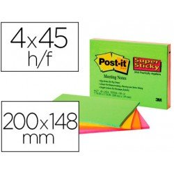 Post-It ® Bloc de Notas Quita y Pon Super Sticky 200x149 mm colores Neón XXL