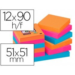 Post-It ® Bloc de Notas Quita y Pon Super Sticky 51X51 mm Colores Bangkok