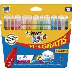 Rotuladores BIc Kids Color Punta media Tinta a base de agua y lavable Caja de 18 colores