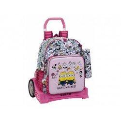 Mochila Escolar Minions girl con ruedas Poliéster 33x15x43 cm