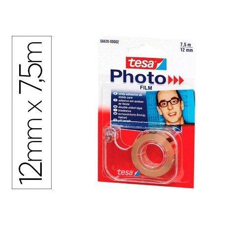 Cinta adhesiva Doble cara Foto Tesa Film 7,5m x 12mm portarollos