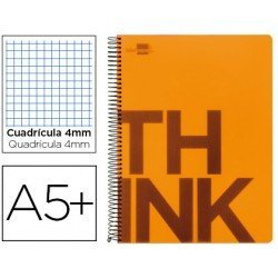 Bloc Cuarto marca Liderpapel serie Think cuadricula 4 mm naranja