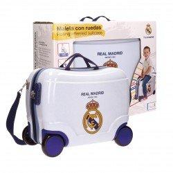 Maleta correpasillos 34x41x20 cm Rígida 4 ruedas Real Madrid Classic blanca Pequeña