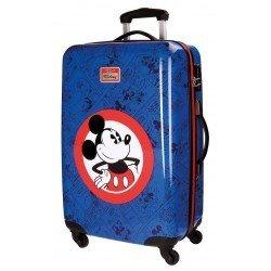 Maleta mediana 68x44x26 cm Rígida 4 ruedas Hello Mickey Azul