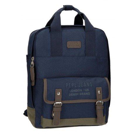 Mochila Pepe Jeans Poliéster 37x28x13 cm Alber Azul para portátil