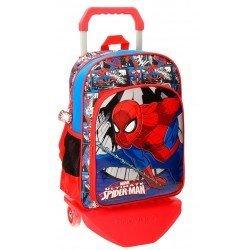 Mochila Spiderman Microfibra 29x38x12 cm Comic Roja con ruedas