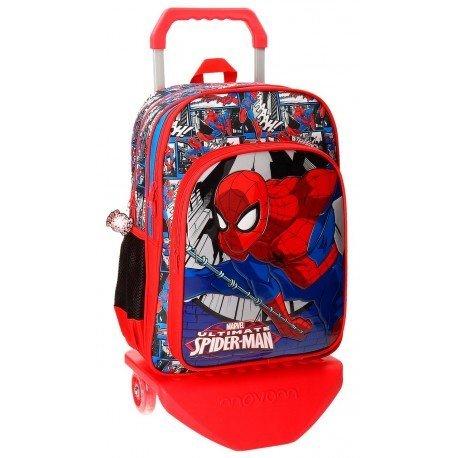 Mochila Spiderman Microfibra 30x40x13 cm Comic Roja doble compartimento con ruedas