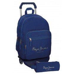 Mochila Pepe Jeans Poliéster 42,5x30,5x15 cm Harlow Azul Marino con ruedas + estuche escolar