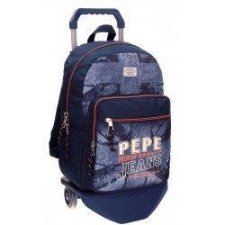 Mochila Pepe Jeans Poliéster 30x42x17 cm Dales Jr Azul con ruedas