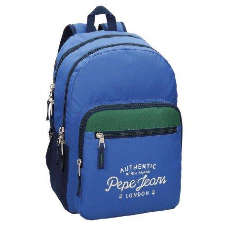 Mochila Pepe Jeans Poliéster 42,5x30,5x15 cm Kepel Tricolor doble compartimento adaptable a carro