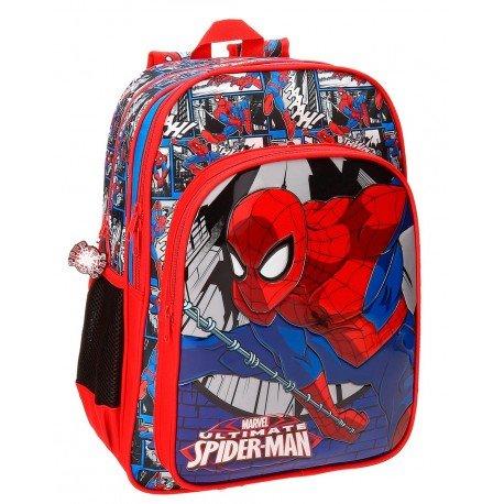 Mochila Spiderman Microfibra 30x40x13 cm Comic Roja doble compartimento