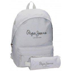 Mochila Pepe Jeans Poliéster 42x31x17,5 cm Harlow Gris + estuche escolar