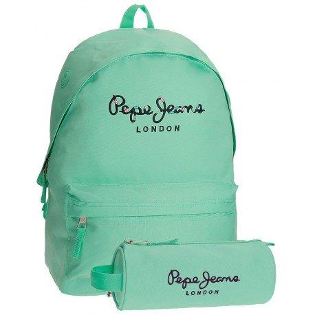 Mochila Pepe Jeans Poliéster 42x31x17,5 cm Harlow Turquesa + estuche escolar