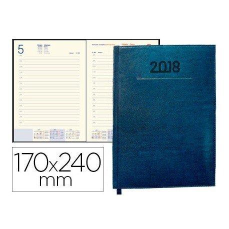 Agenda 2018 Encuadernada Creta Dia pagina 170x240 mm Azul Liderpapel