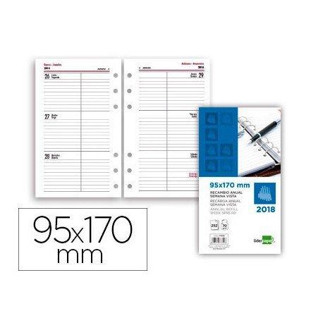 Recambio agenda anual 2018 6 anillas Semana vista 95x170 mm Liderpapel