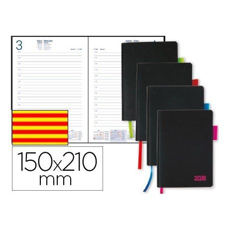 Agenda 2018 Encuadernada Sifnos Dia pagina Catalan DIN A5 Colores surtidos Liderpapel