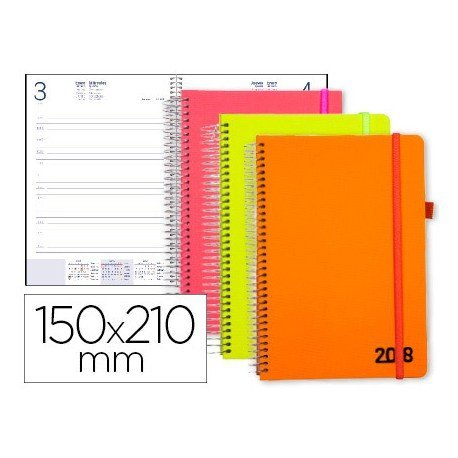 Agenda 2018 Espiral Neon Dia pagina DIN A5 Colores surtidos Liderpapel