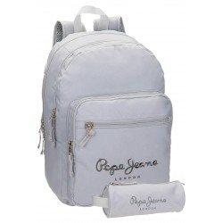 Mochila Pepe Jeans 42,5x30,5x15 cm Harlow Gris doble compartimento + estuche