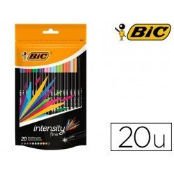 Rotulador Bic Intensity Fine Punta Fibra Trazo 0,4 mm Colores Surtidos 20 unidades