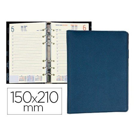 AGENDA ANILLAS LIDERPAPEL DION 15X21 CM DIA PAGINA AZUL SIMIL PIEL MATE PAPEL 70 GR