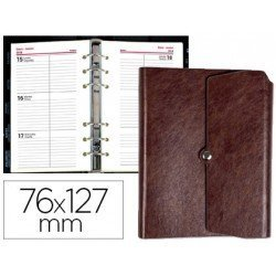 Agenda 2018 Anillas Tinde Semana Vista 76X127 mm marron Liderpapel