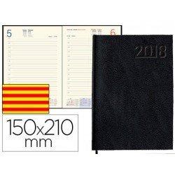 Agenda 2018 Encuadernada Corfu Dia pagina Catalan DIN A5 Negro Liderpapel