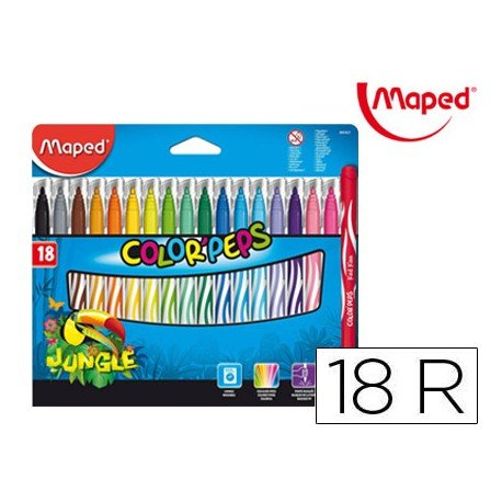 ROTULADOR MAPED COLOR PEPS JUNGLE CAJA DE 18 UNIDADES