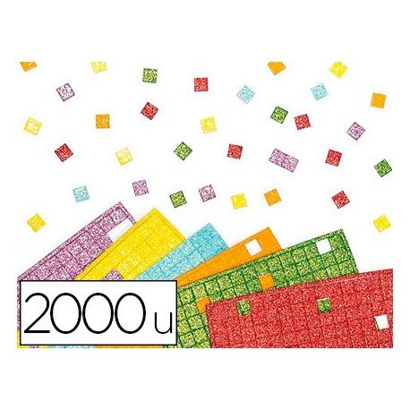 Plancha Adhesiva mosaico foam Purpurina colores surtidos 1x1 cm itKrea