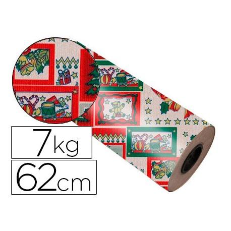 Bobina papel tipo kraft Impresma 62 cm 7 kg navidad 4266