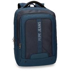 "Mochila para portatil 13,3"" de Pepe Jeans Greenwich Azul doble compartimento"