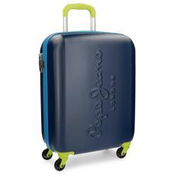Maleta de Cabina 55x40x20 cm Rigida 4 ruedas Pepe Jeans Tricolor Azul Marino