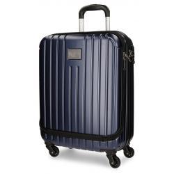 Maleta de Cabina 55x40x20 cm Rígida 4 ruedas Pepe Jeans Azul Stripes con Bolsillo Frontal