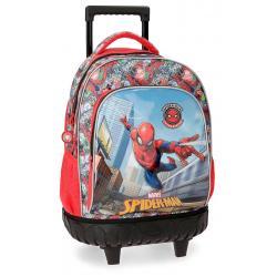 Mochila escolar Spiderman Grafiti 43x32x21cm de Poliéster con ruedas