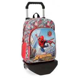 Mochila Spiderman 38x29x12 cm de Poliéster Grafiti con carro